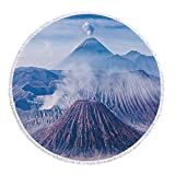 iPrint Thick Round Beach Towel Blanket,Volcano,Bromo Batok and Semeru Volcanoes Java Island Indonesia Magma Activity Decorative,Light Blue Mauve White,Multi-Purpose Beach Throw