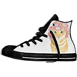 NAFQ Cat Kitten Illustration Funny Classic Canvas Sneakers Shoes Lace Up Unisex High Top