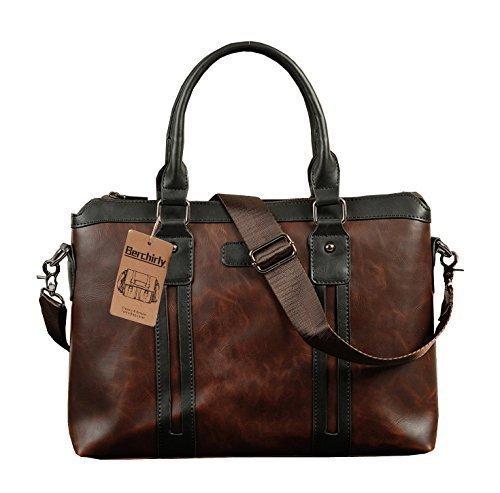 Pu Leather Laptop Bag, Berchirly Business Bag Briefcase Detachable Shoulder Strap Coffee