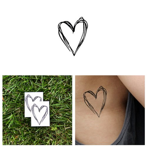 Hearts Sketch (Tattify Heart Sketch Temporary Tattoo - Heart's a Mess (Set of 2) - Other Styles Available - Fashionable Temporary Tattoos - Long Lasting and Waterproof)