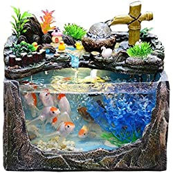 Rockery Water Fountain Decoration Living Room humidifier Decoration Small Fish Tank Aquarium Landscape Office Desk Gift Ornaments Decorating & Design (Color : Blue, Size : 281828cm/11711inch)