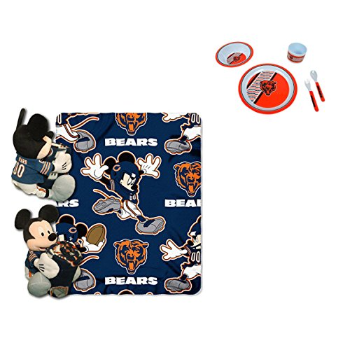 Official National Football League and Disney Fan Shop Authentic NFL Mickey Mouse Hugger Stuff Toy, Blanket and 5-piece Dinner or Lunch Set Bundle (Chicago Bears)
