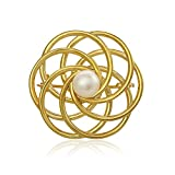 Image of Gold over Silver, Cultured Freshwater Pearl Evening Circle Brooch