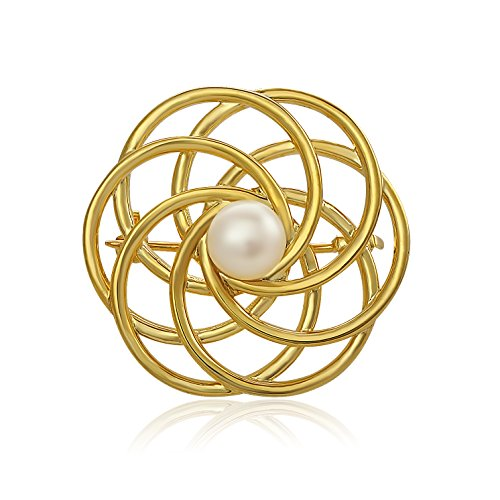 Gold over Silver, Cultured Freshwater Pearl Evening Circle Brooch