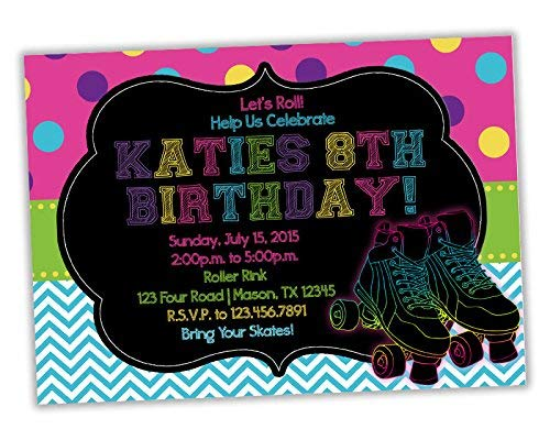 Amazon Neon Roller Skating Birthday Invitation Girl Pink Blue