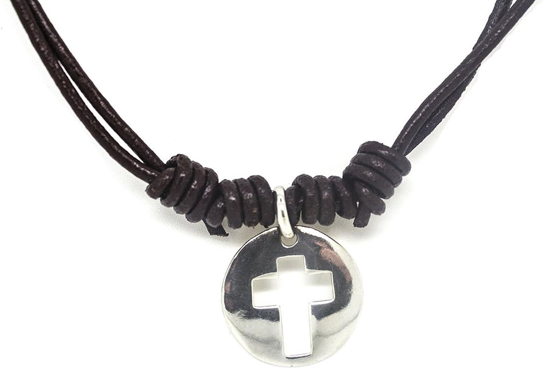 Kokomorocco Collar comunión Cruz de Plata de Ley, cordón de Cuero, Collar Ajustable, Unisex, niño, niña, Mujer