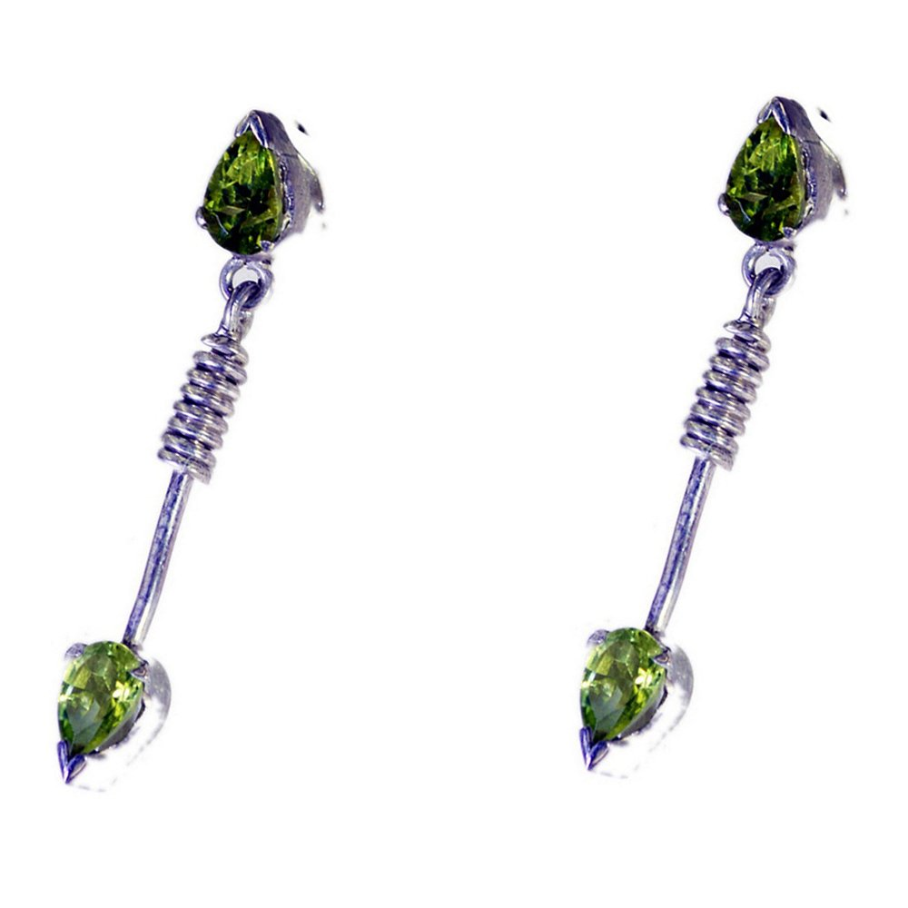 Genuine Peridot Earring For Women Butterfly Back Fashion Sterling Silver Bar Setting Pear Shape Manmade