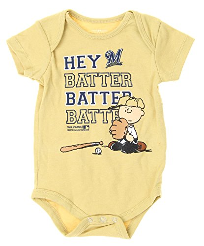 MLB Milwaukee Brewers Baby Boys Infants Peanuts Love Baseball Creeper, Tan (Clothes Brewers Milwaukee)