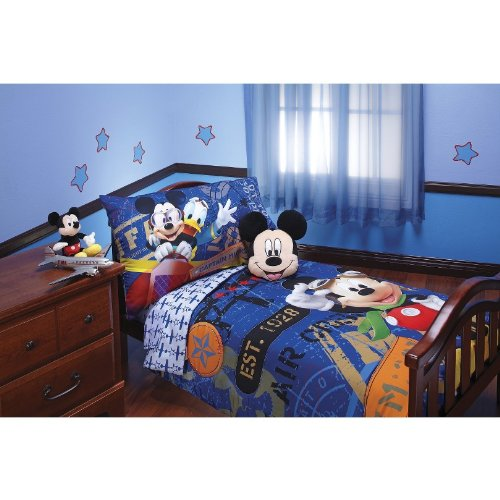 Disney Mickey Aviator Toddler Comforter /& sheet set 6 pc mickey mouse #T44