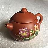purple grit teapot - Peony Printed Purple Clay Teapot Craft Pot Yixing Purple Grit Tea Pot