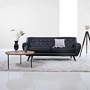 Amazon.com: Mid Century Modern Tufted Bonded Leather Sofa in Color ...