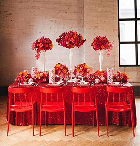 QueenDream Red 90x132 shimmer tablecloth for party hot sale table cloth wholesale popular