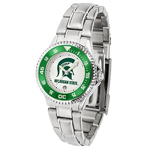 SunTime Michigan State Spartans Competitor Ladies Watch with Steel Band ()