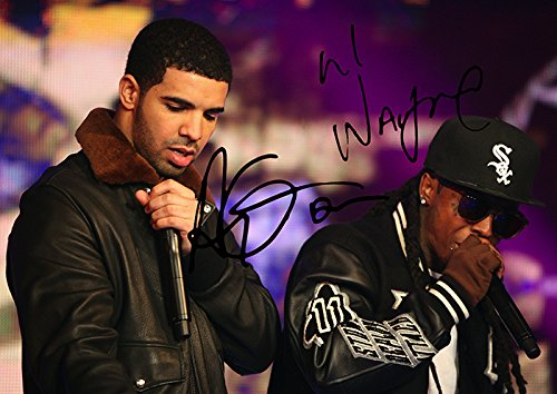 ((11.7 X 8.3) Drake & Lil Wayne Print Signed (Pre-print Autograph) Young Money Artists)
