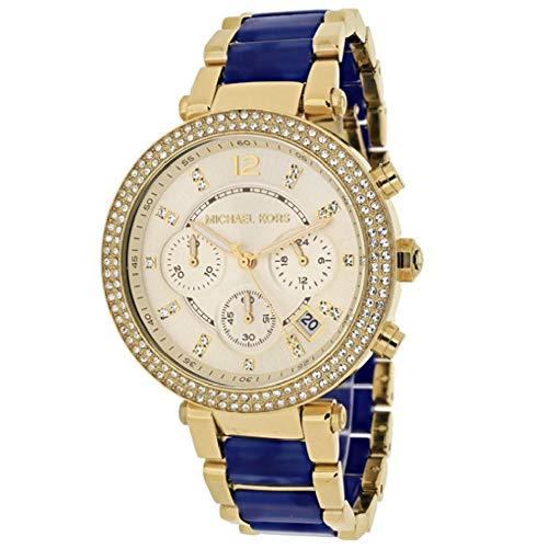 699f12f2c924 Amazon | [マイケルコース]Michael Kors レディース パーカー クロノグラフ デイカレンダー ラインストーン シャンパンゴールド  ネイビー MK6238 腕時計 [並行輸入品] ...
