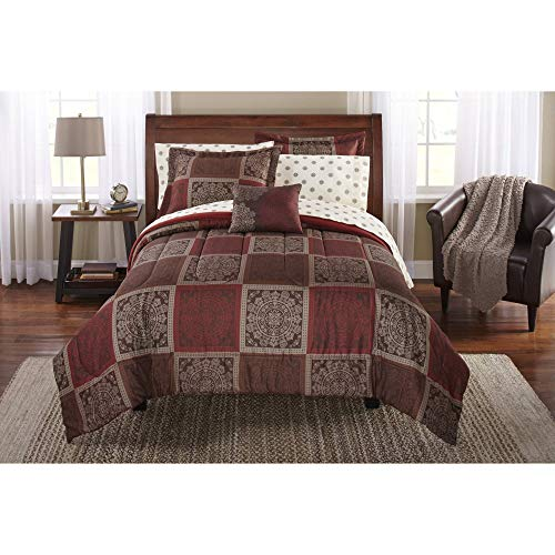 Mainstay Tiles Bed in a Bag Bedding Comforter Set, Full