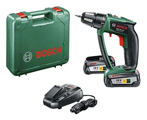 Bosch DIY Akku-Bohrschrauber PSR 18 LI-2 Ergonomic, 2 Akku, Ladegerät, Schrauberbit, Koffer, bürstenloser EC-Motor (18 V, 2,5 Ah, Schrauben bis Ø 10 mm, Bohr-Ø 38 mm Holz, 13 mm Stahl)