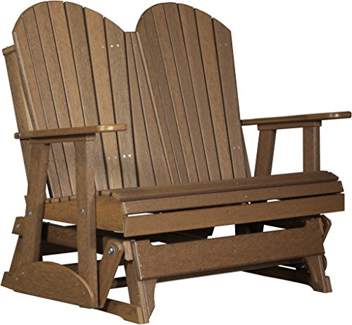 Furniture Barn USA 4' Poly Adirondack Glider - Antique Mahogany (4' Adirondack Glider)