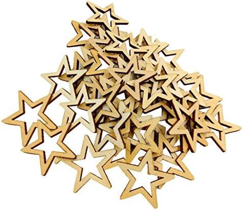 chiwanji 30mmを作るカードのための150の未完成の木製の排気切替器の星の装飾