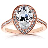Near-Colorless (F-G) Pear Shape Moissanite and Diamond Halo Engagement Ring 2 1/2 CTW in 14k Rose Gold