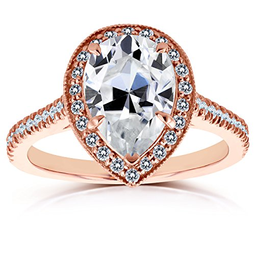 Near-Colorless (F-G) Pear Shape Moissanite and Diamond Halo Engagement Ring 2 1/2 CTW in 14k Rose Gold, Size 5