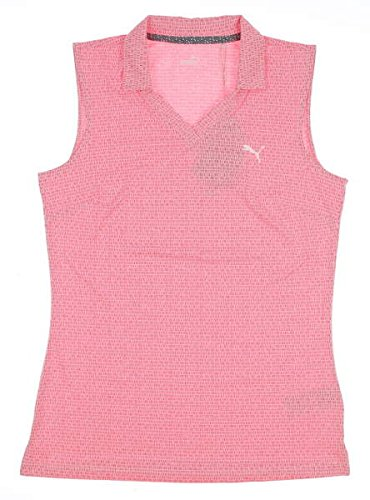 (PUMA New Womens Jacquard Sleeveless Polo Small S Bright Plasma 574769 05)