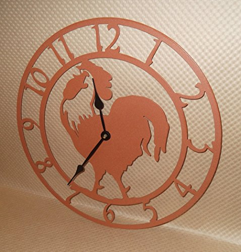 Rooster Wall Clock. Solid Steel. 15 Inch Wide. Quartz Movement. Terra Cotta Color. Handmade in USA.
