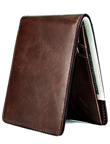 Mens Slim Leather Wallet Small Billfold Front Pocket Wallet with RFID Blocking ID window