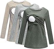 Bearsland Women's 3 Packs Maternity Nursing T-Shirt Long Sleeves Breastfeeding Nursing