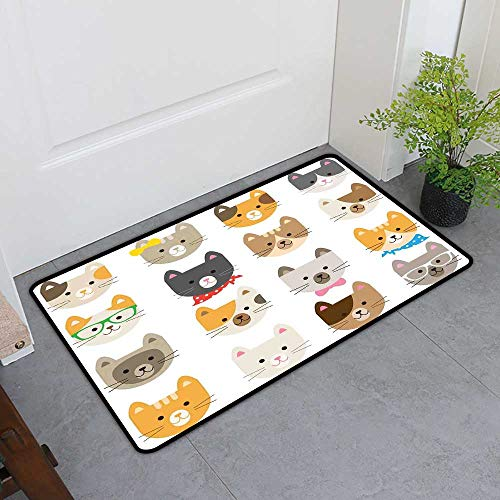TableCovers&Home Universal Door Mat, Kids Decorative Doormats for Bedroom, Cats Costume with Glasses Bow Tie Bandanna Cartoon Art Craft Pattern Print Pets Animal Lovers Print (H24 x W36) -