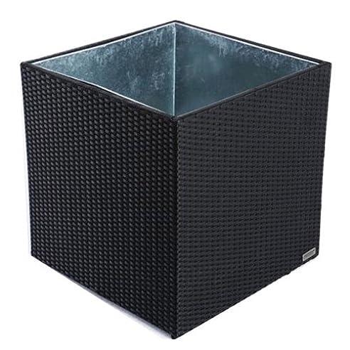 Amazon.de: Outflexx Pflanzkübel Cube 70 x 70 cm Polyrattan schwarz