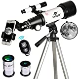 Photo : Telescope, Travel Scope, 70mm Aperture 400mm AZ Mount Astronomical Refractor Telescope for Kids Beginners - Portable Travel Telescope with Carry Bag, Smartphone Adapter and Bluetooth Camera Remote