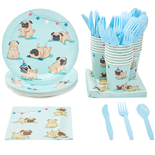 Disposable Dinnerware Set - Serves 24 - Dog Party Supplies for Kids Birthdays, Pugs Design, Includes Plastic Knives, Spoons, Forks, Paper Plates, Napkins, Cups (Dog Childrens Dinnerware)