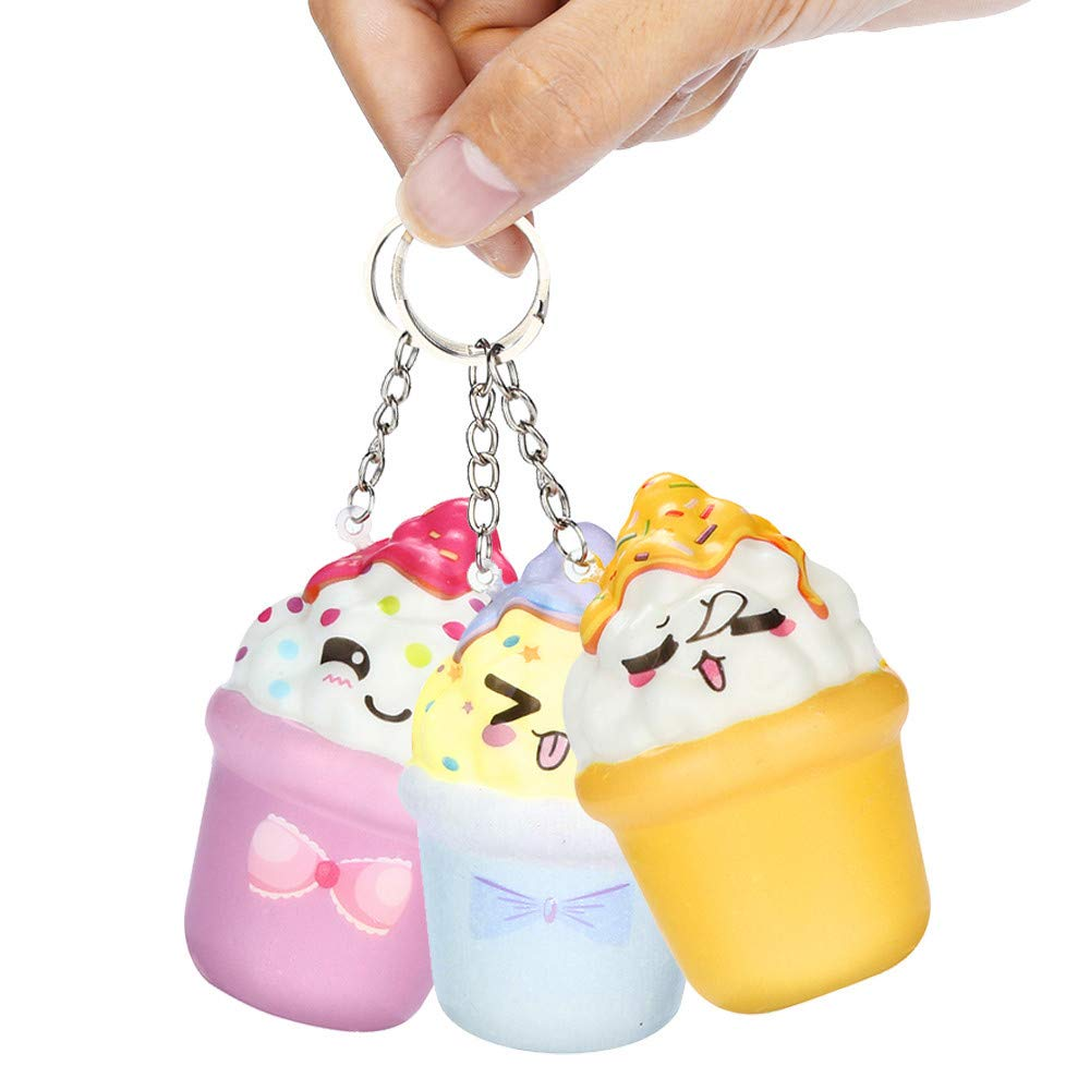 DIGOOD Squishies Kawaii Ice Cream Slow Rising Cream Scented Keychain Stress Relief Toys