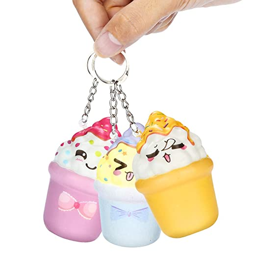 Amazon.com: Sunbona Clearace Squishy Ice Cream Keychain ...