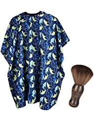 FaHaner Kids Haircut Cape + Neck Duster Brush Set Professional Barber Hairbrush and Children Dolphin Hairdresser Apron with Adjustable Snap Closure Extra Long Cape 120 100cm Perfect for Kids