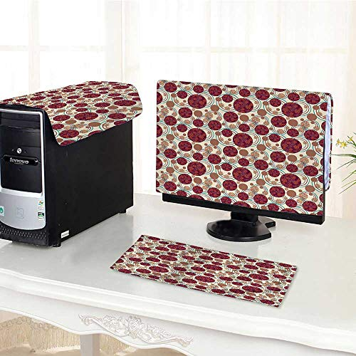 Auraisehome One Machine LCD Monitor Keyboard Cover Decor Dynamic Ring Spherical Disco Balls Dot and Stripes Swirls Display Maroon Beige dust Cover 3 Pieces /32