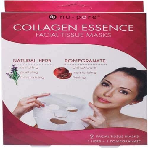 1 Pack Nu-pore Natural Herb & Pomegranate Collagen Essence Mask [2 Mask] One Natural Herbal and One Pomegranate