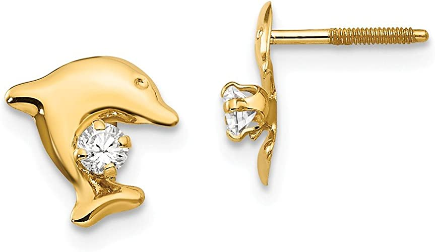 Mia Diamonds 14k Yellow Gold Dolphin Post Earrings