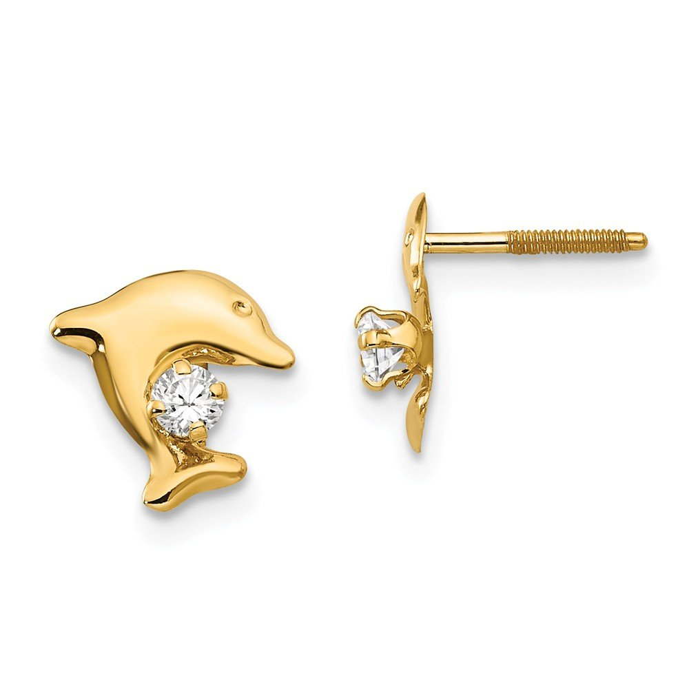 14k Yellow Gold Childs Dolphin w//Synthetic CZ Post Earrings w//Gift Box 10MM Long x 8MM Wide