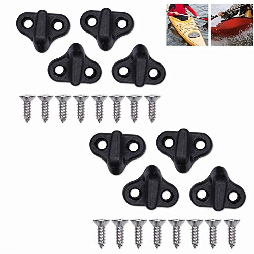 Vbestlife Kayak Lashing Hooks Nylon Bungee Hooks J Shape Hooks Replacement Black with Flat-Head Screws for Kayak Canoe Paddle Board 8pcs
