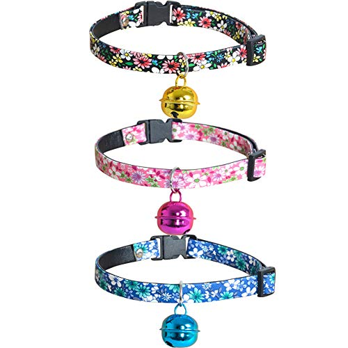 Lamphyface 3 PCS Dog Cat Collar Adjustable Fashion Print, Cute Puppy Collar Personalized Collars for Small Dog Girl ()