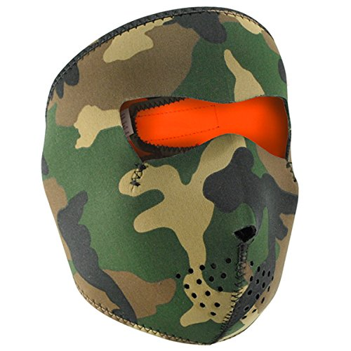 Woodland Camo Reverse to High-Vis Orange Neoprene Full Face Mask - One Size