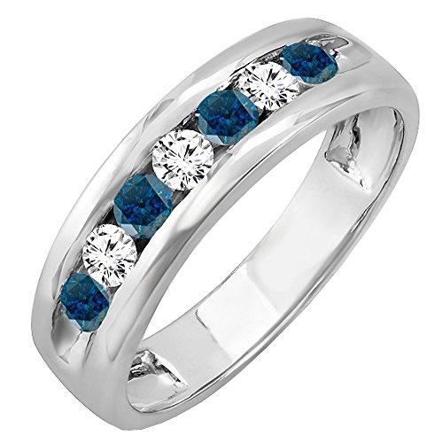 ion 0.85 Carat (ctw) 14K White Gold Round White & Blue Diamond Mens Anniversary Wedding Ring (Size 8.5) ()