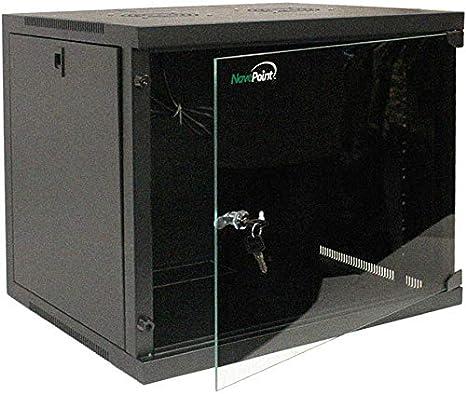 Black 9U Server Cabinet Glass Locking Door w// Key Wall Mount Network Rack