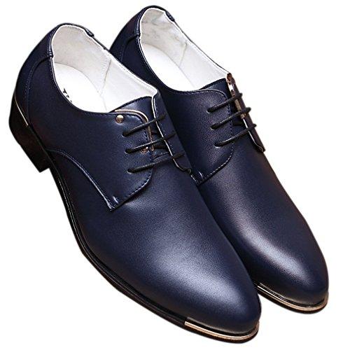 Shoes Dress by Modern Lace Derby Blue Red Plain Black Men's Classic Up Blue Oxford Santimon 0qwSF