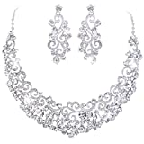 EVER FAITH Women's Austrian Crystal Art Deco Flower Wave Necklace Earrings Set Clear Silver-Tone