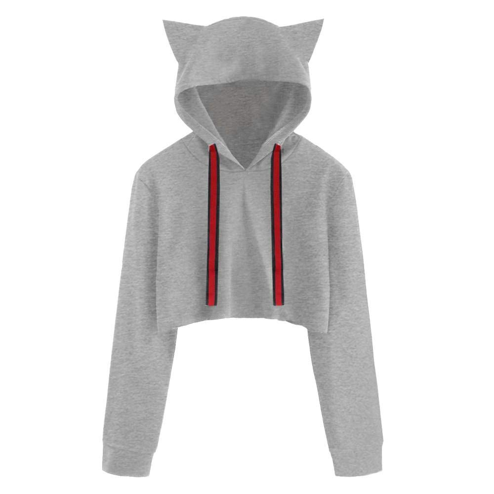HGWXX7 Clearance Sale Women's Sweatshirt Cute Cat Solid Long Sleeve Short Tops Pullover Blouse Hoodie Women Sweatshirt