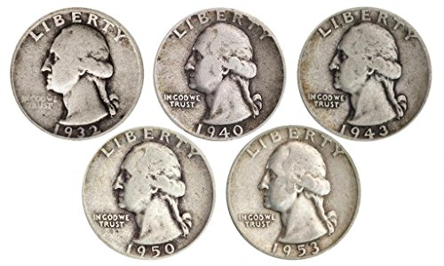 Silver Quarters - Count of 5-90% Silver Washington Quarters - All Different Dates Fine