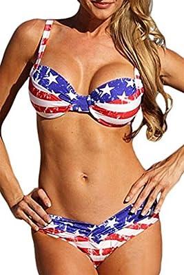 EVALESS Women's American Flag Padded Two Pieces Bikini Set Swimsuit